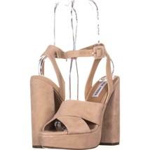 Steve Madden Jodi Platform Sandals 848, Blush SUede, 6.5 US - $47.99