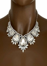Classic Vintage Inspired Evening Necklace Earrings Clear Crystal Costume Jewelry - $35.15