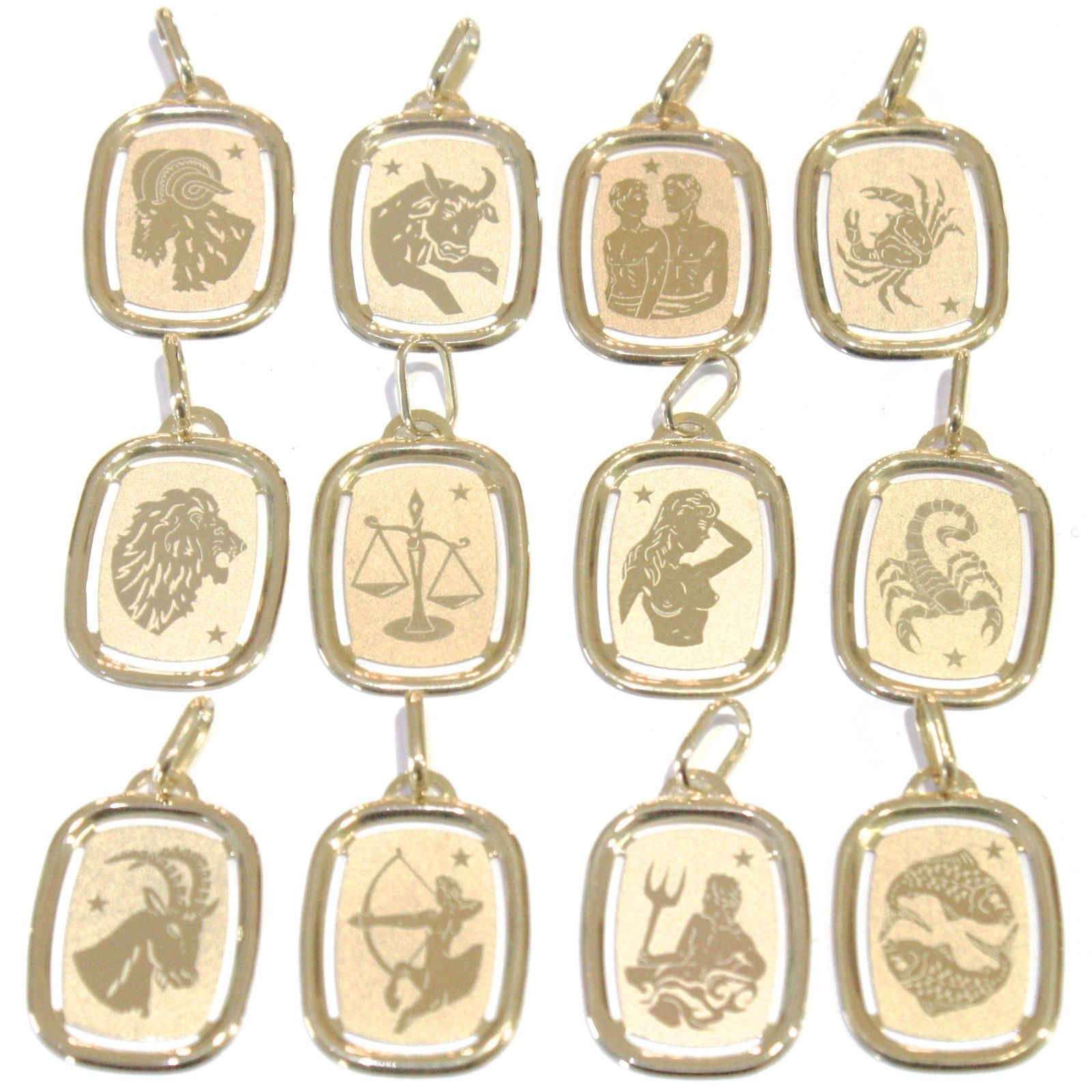 PENDANT YELLOW GOLD 18K SIGN THE ZODIAC SLAB ENGRAVABLE CORD BLACK