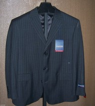 NWT Stafford Gray Pin Striped 3 Button Wool Suit Jacket Mens Size 44 short - $54.45
