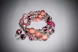 Pink Animal Print, Wrap Bracelet,  Handcrafted, One of a Kind, FREE SHIP... - $25.00