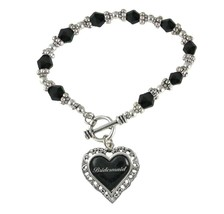 Bridesmaid Heart Silver Black Glass Bead Bracelet Jewelry Wedding Bridal... - $12.65