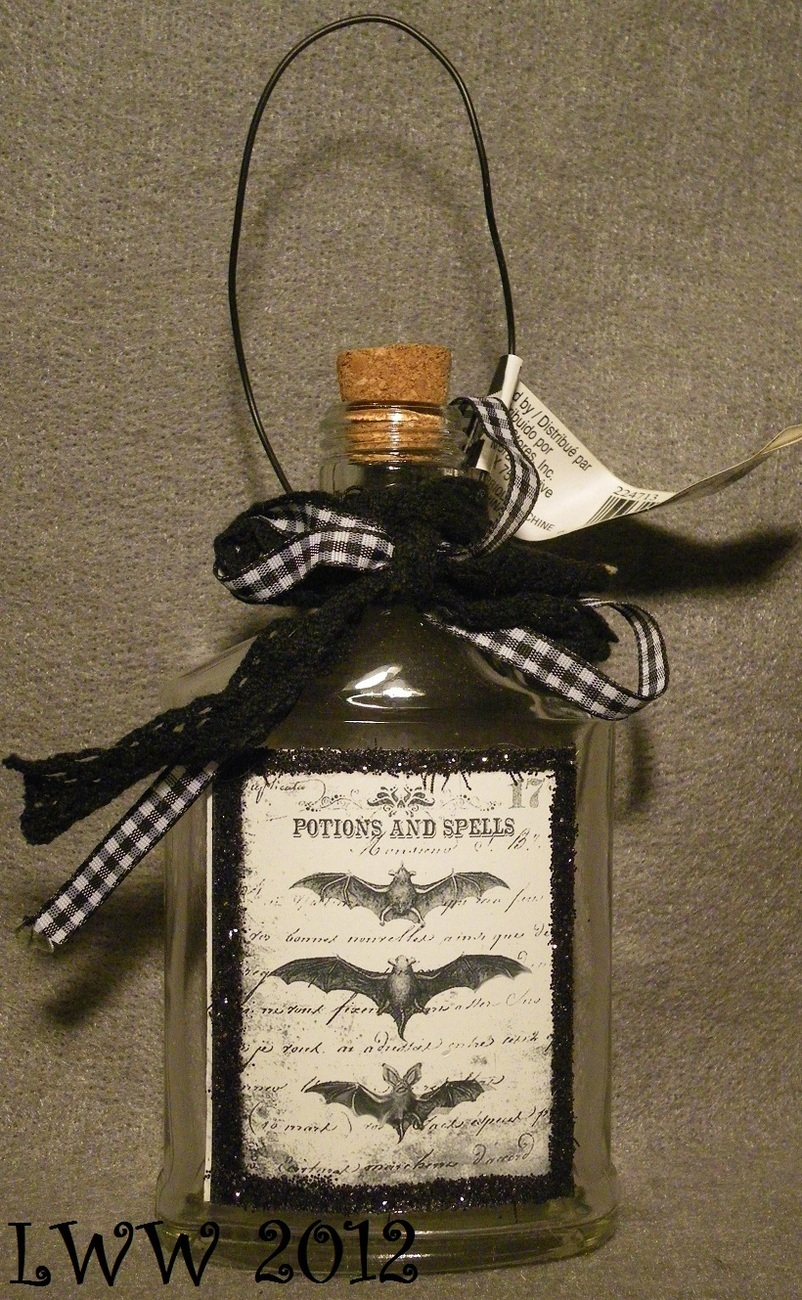 Halloween Potion Bottle Ornament with Potions and Spells Bat Glitter Design