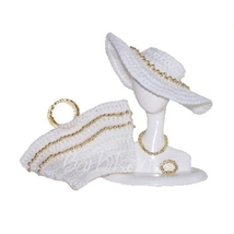 BEAD HAT TOTE Accessory Set Wht/Gold for Barbie Silkstone FR Tressy Fash... - $12.99