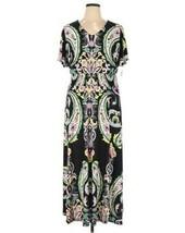 INC International Concepts Plus Size Womens Maxi Dress 1X Black Pink Med... - $41.38