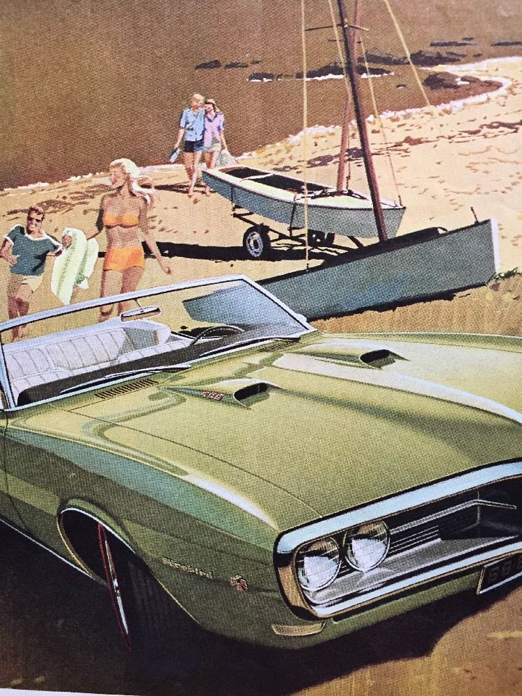 Primary image for 1968 Pontiac Firebird 400 green convertible beach scene art vintage print Ad