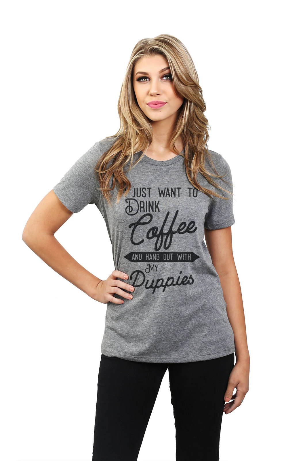 Thread Tank Hang Out With Puppies Women's Relaxed T-Shirt Tee Heather Grey