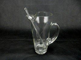 Princess House Heritage 2 QT Martini Pitcher w /Glass Stir Stick Crystal Clear - $19.55
