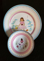 Vintage STANGL POTTERY Kiddieware Set MARY QUITE CONTRARY Plate & Bowl 1... - $99.95