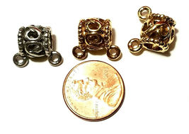 Bail Bead w/ 2 Rings Fine Pewter 16x13x10mm - Large Bead Hole 5.5mm image 3