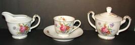Vintage Cherry China Tea Cup & Saucer Creamer & Sugar Bowl W/Lid Occupie... - $17.81