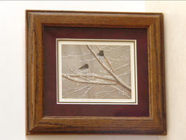 Charming Signed Print of Birds of Wintry Branches Framed by  Sharon Manka - $10.99