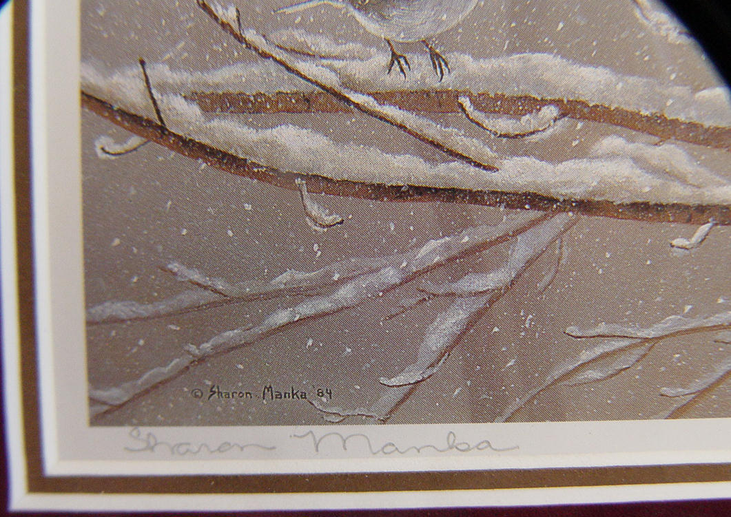Charming Signed Print of Birds of Wintry Branches Framed by  Sharon Manka