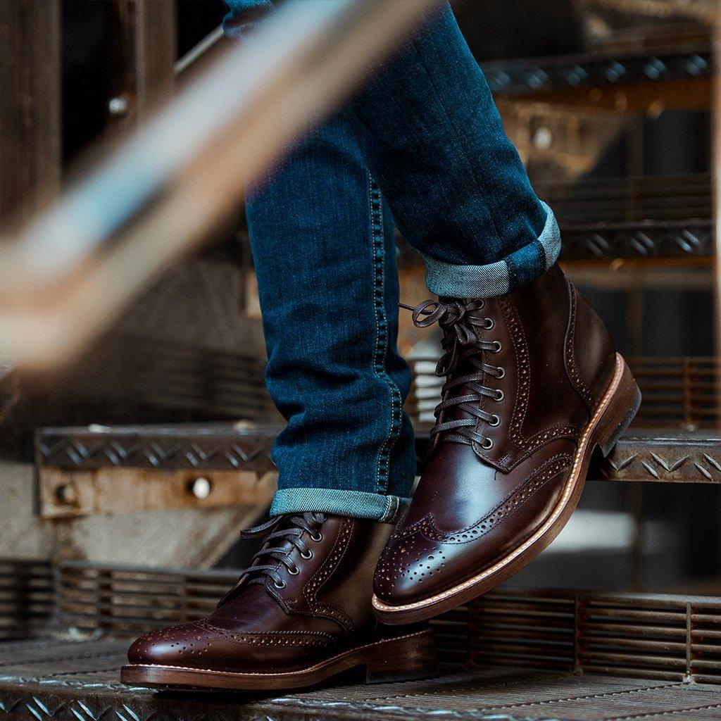 Handmade Mens Wingtip brogue ankle leather boots,Men lace up ankle leather boots