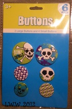 6 Skull and Crossbones Punk Goth Halloween Pirate Lapel Button Pins - $3.99
