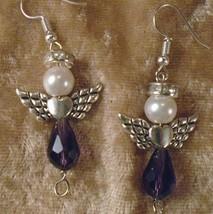 Purple Amethyst Cystal Loving Heart Angels Pierced Earrings in Silvertone - $9.89