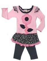 Twirls & Twigs Baby Pink Black Size 18 Months 2Pcs Top+Skirted Leggings ... - $27.12