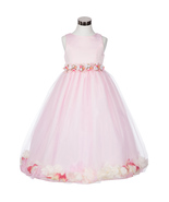 Pink Satin Bodice Floating Baby Pink Flower Petals Layer Tulle Skirt Gir... - $37.95+
