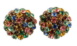 "VINTAGE HOLLY CRAFT MULTI RHINESTONE DOMED CLIP BACK ROUND EARRINGS 1"" - €44,43 EUR"
