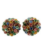 "VINTAGE HOLLY CRAFT MULTI RHINESTONE DOMED CLIP BACK ROUND EARRINGS 1"" - £42.38 GBP"