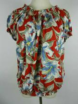 Chaps Denim Womens Blouse Sz 2X Red SS Hawaiian Floral Smocked Neck Waist Aloha - $28.50