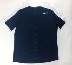 Nike Full Button Softball Henley Jersey Shirt Women's M Navy Blue White ... - $15.43