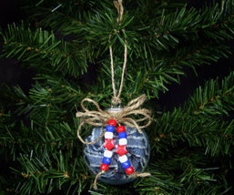 Handcrafted Recycled Denim Country Christmas Ball Ornament - $8.98