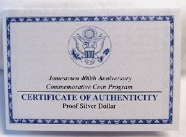 Us mint 2007 jamestown silver proof coin coa front thumb200