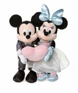 Disney Parks Mickey and Minnie Mouse Wedding Love Plush Doll Set of 2 - $28.21