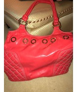 WOMEN'S GOLDENBLEU CORAL RED PATENT LEATHER HAND BAG TOTE GOOD COND RETA... - $100.00