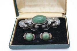 Vintage Silver Brooch Pin Earring Set Mexico Jade Art Nouveau Style Scre... - $98.95