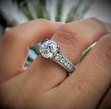 2.85Ct Round White Diamond Engagement Ring in Solid 14K White Gold For W... - $4.874,26 MXN