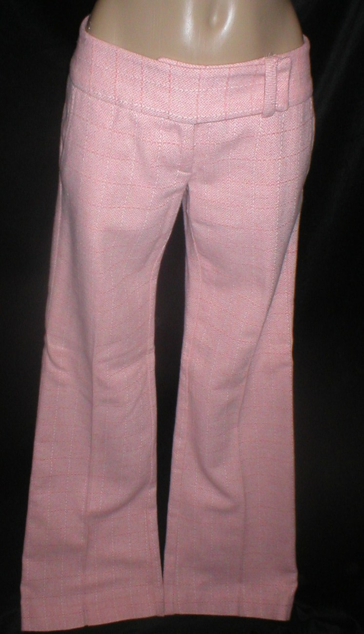 Arden B pink plaid wool blend mid rise dress pants 1