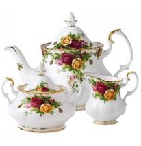 Royal Albert Old Country Roses Completer Set Teapot Creamer Sugar 3 Piec... - $127.84