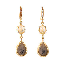The Cats Pajama Smoky Taupe Gold Glam Drop Earrings - $42.00