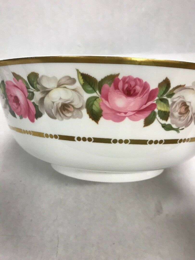 ROYAL WORCESTER Vintage Bowl Royal Garden gold edge 1969 serving roses 10inch