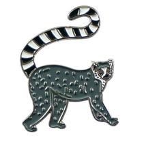 lemur silver Metal Enamel Badge Lapel /tie Pin Badge 3d effect with clip