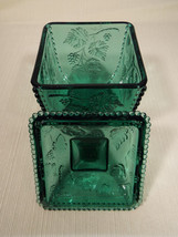 Vintage Fenton Spruce Green 5 1/2 Inch Square Covered Candy Dish Grape Pattern - $59.99