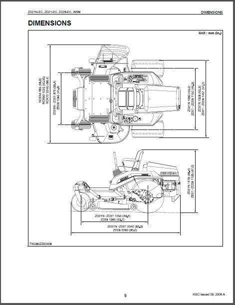 kubota zd21 / zd28 zero turn mower wsm service repair workshop manual cd