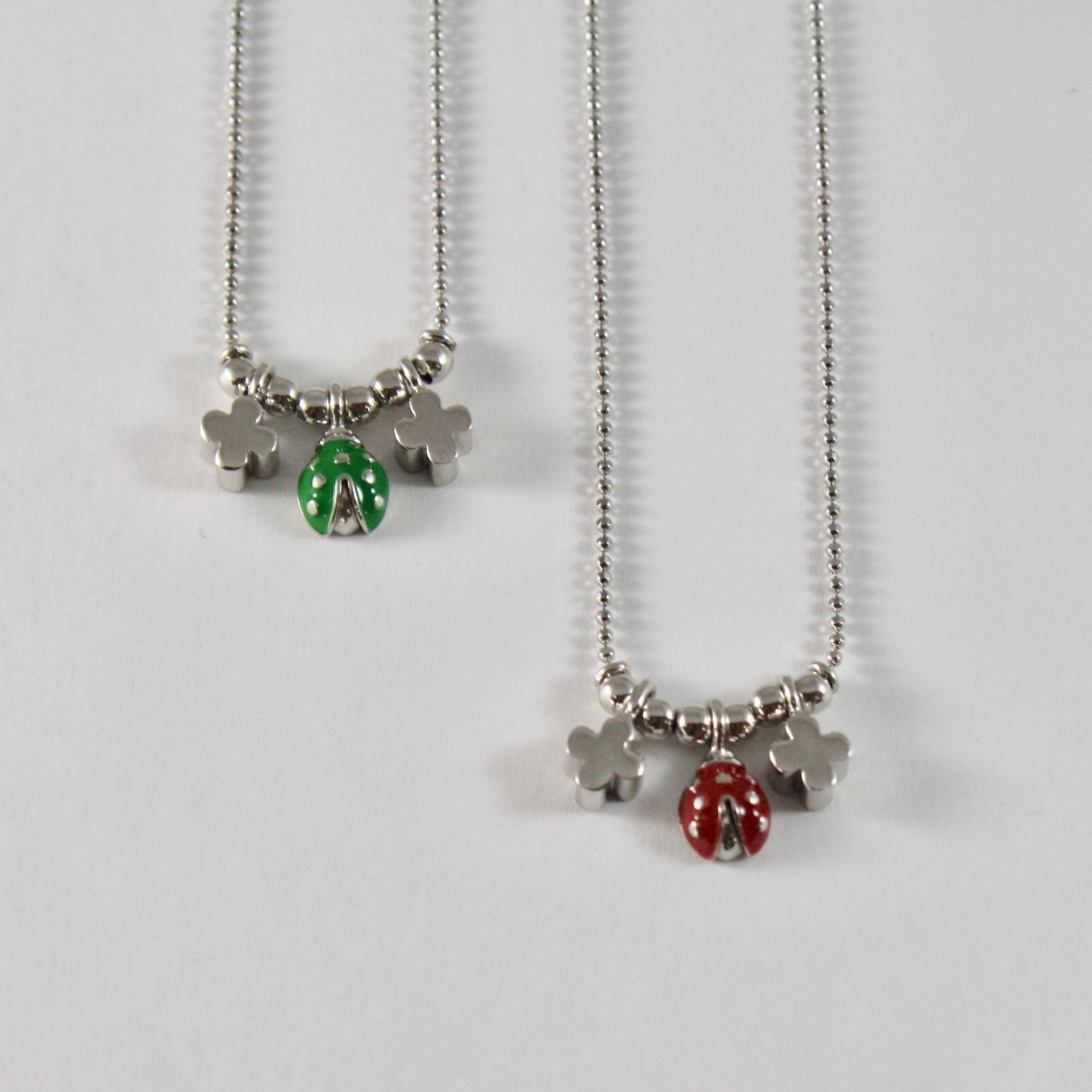 925 STERLING SILVER NECKLACE JACK&CO WITH LADYBUG GLAZED AND FOUR-LEAF CLOVER 45