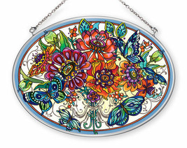 Frilly Floral Sun Catcher AMIA Hand Painted Glass Large Oval Butterfly N... - €30,65 EUR