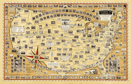 "11""x17"" Historical Pictorial Map Print USA America Stamps Philatelist Gi... - $12.38"