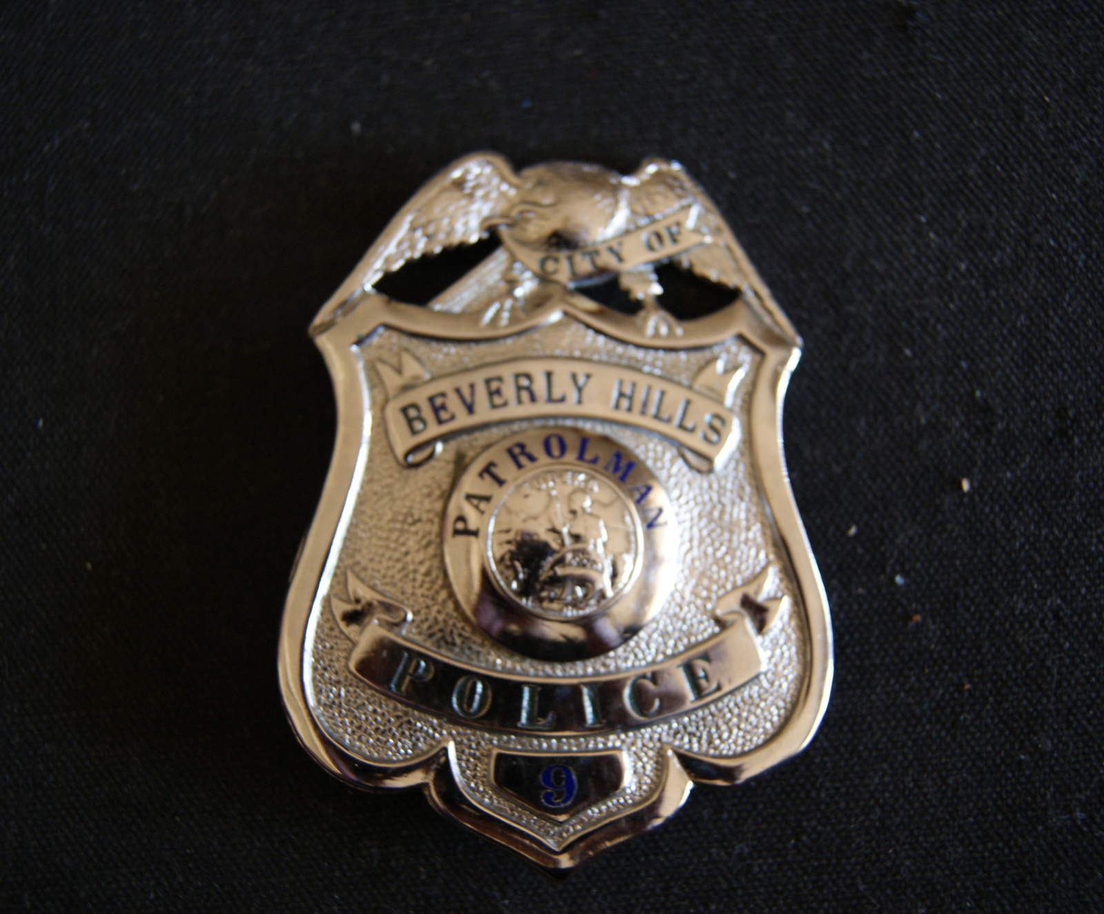 Beverly Hills Cal,Scarce Antique Police Badge W/ Wallet,.Hmk L.A Rubber Stamp Co