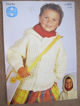 """Sirdar Chunky Knitting Patterns CHILDRENS Cardigan Sweater with Hood 22"""" - 26"""" - $5.95"""