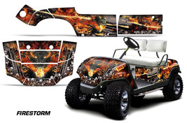 Yamaha Golf Cart Graphic Kit Wrap Parts AMR Racing Decal 1995-2006 FIRESTORM BLK - $299.95