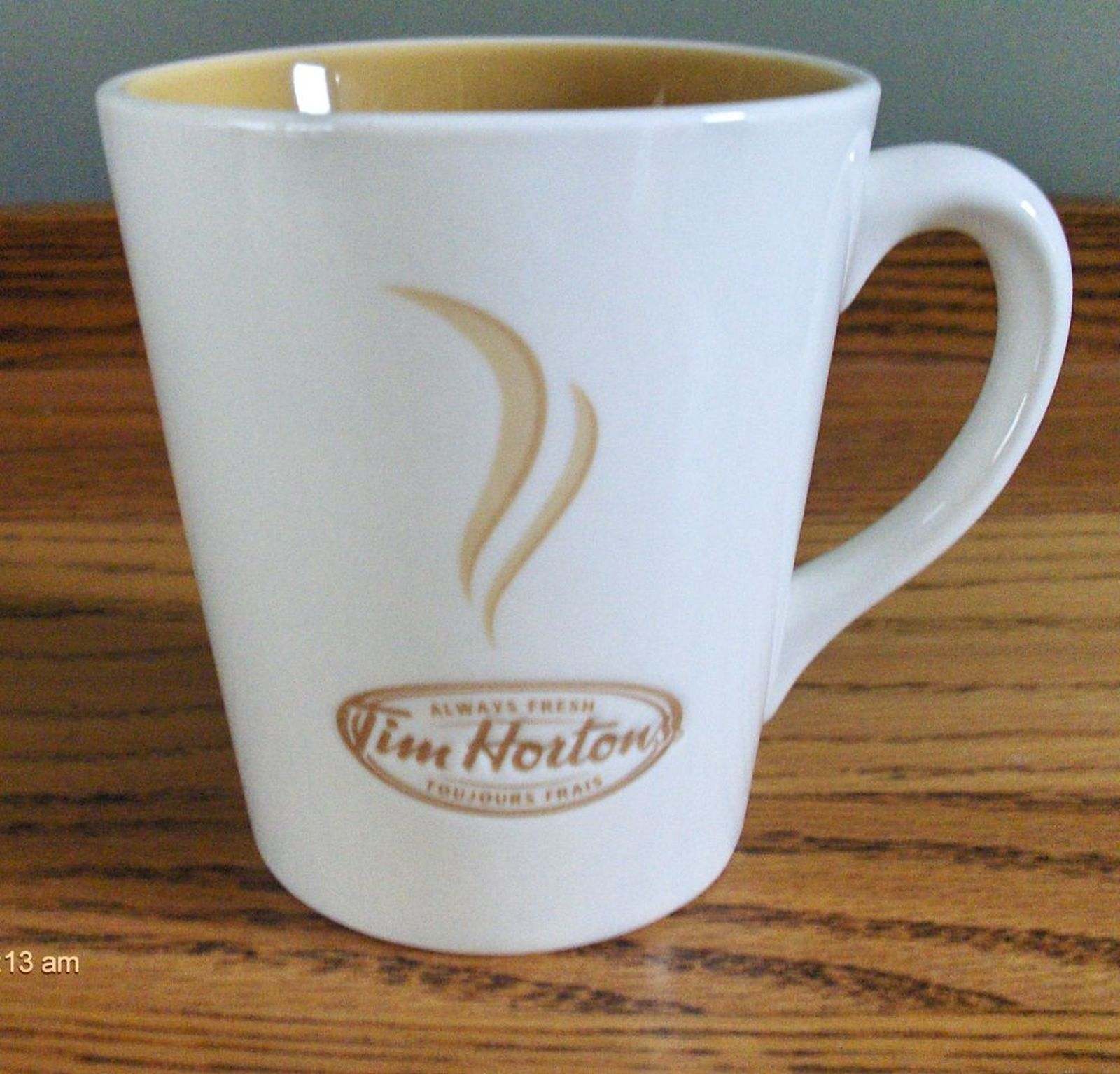 NEW  TIM HORTON/'S TEA COFFEE CUP AND SAUCER SET BEIGE ALWAYS FRESH CANADA 2006