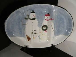Oneida SNOW FAMILY 3-Section Oval Serving Tray Snowmen with Cat EUC in Box - $29.65