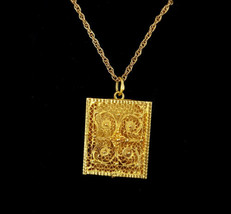 "Antique 18k Gold Middle Eastern Persian Filigree Square Locket Necklace 18"" - $1,691.99"