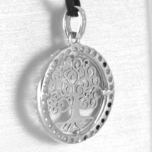 18K WHITE GOLD TREE OF LIFE PENDANT, 0.75 INCHES, ZIRCONIA, MADE IN ITALY  image 3