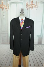 Giorgio Armani MANI Men's Solid Black Twill Wool Sport Coat Blazer 44L 44 L - $61.19